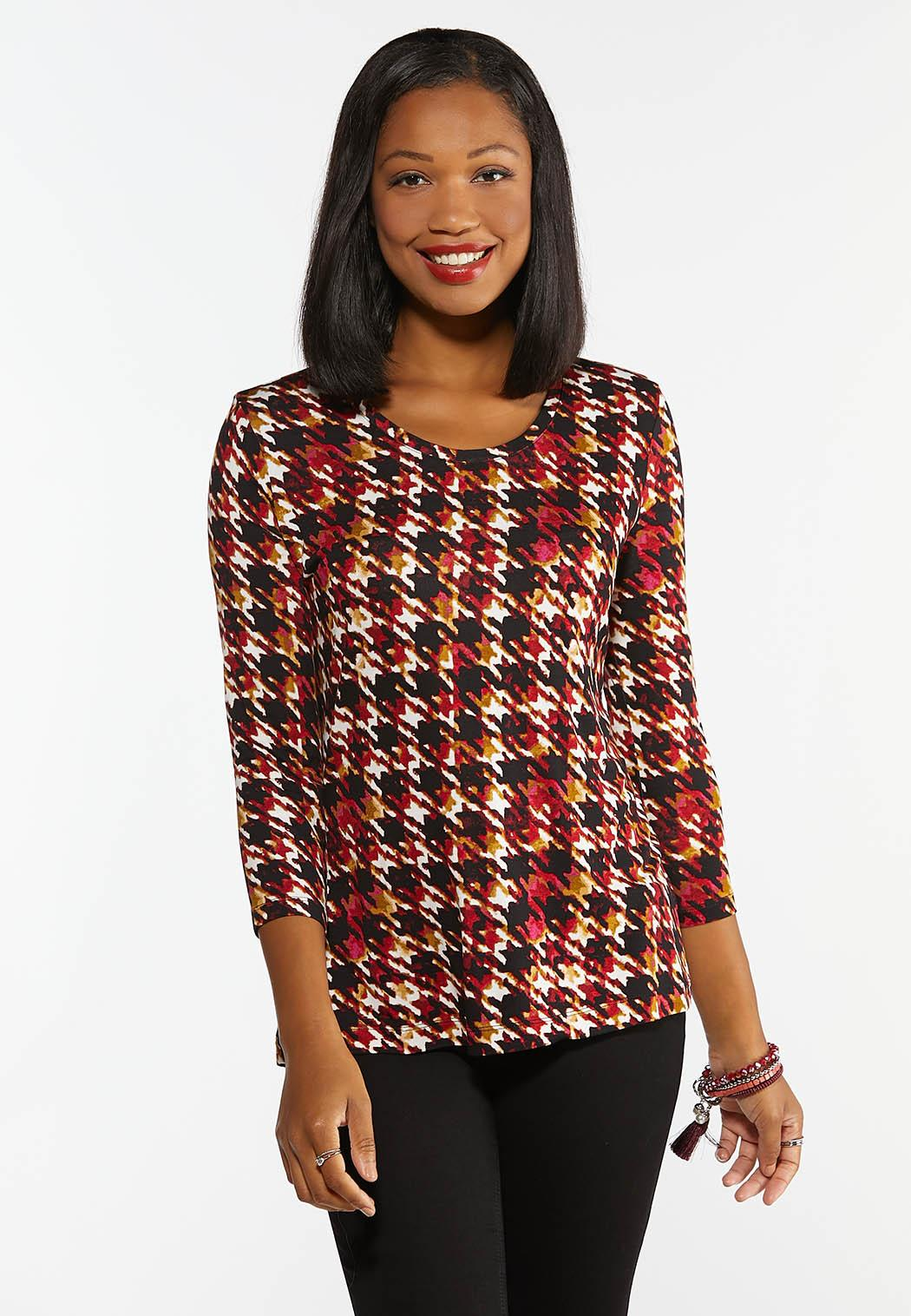 Plus Size Merlot Houndstooth Top