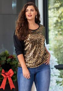 Plus Size Animal Sequin Top