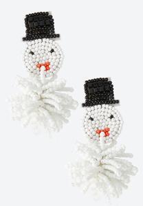 Snowman Seed Bead Earrings