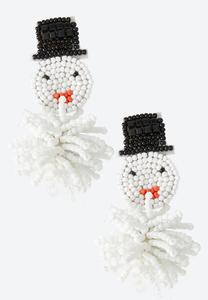 Snowman Seed Bead Earrings