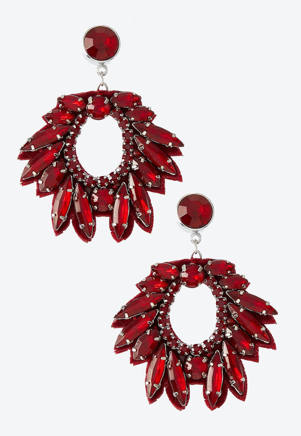 Marquis Stone Fabric Back Earrings
