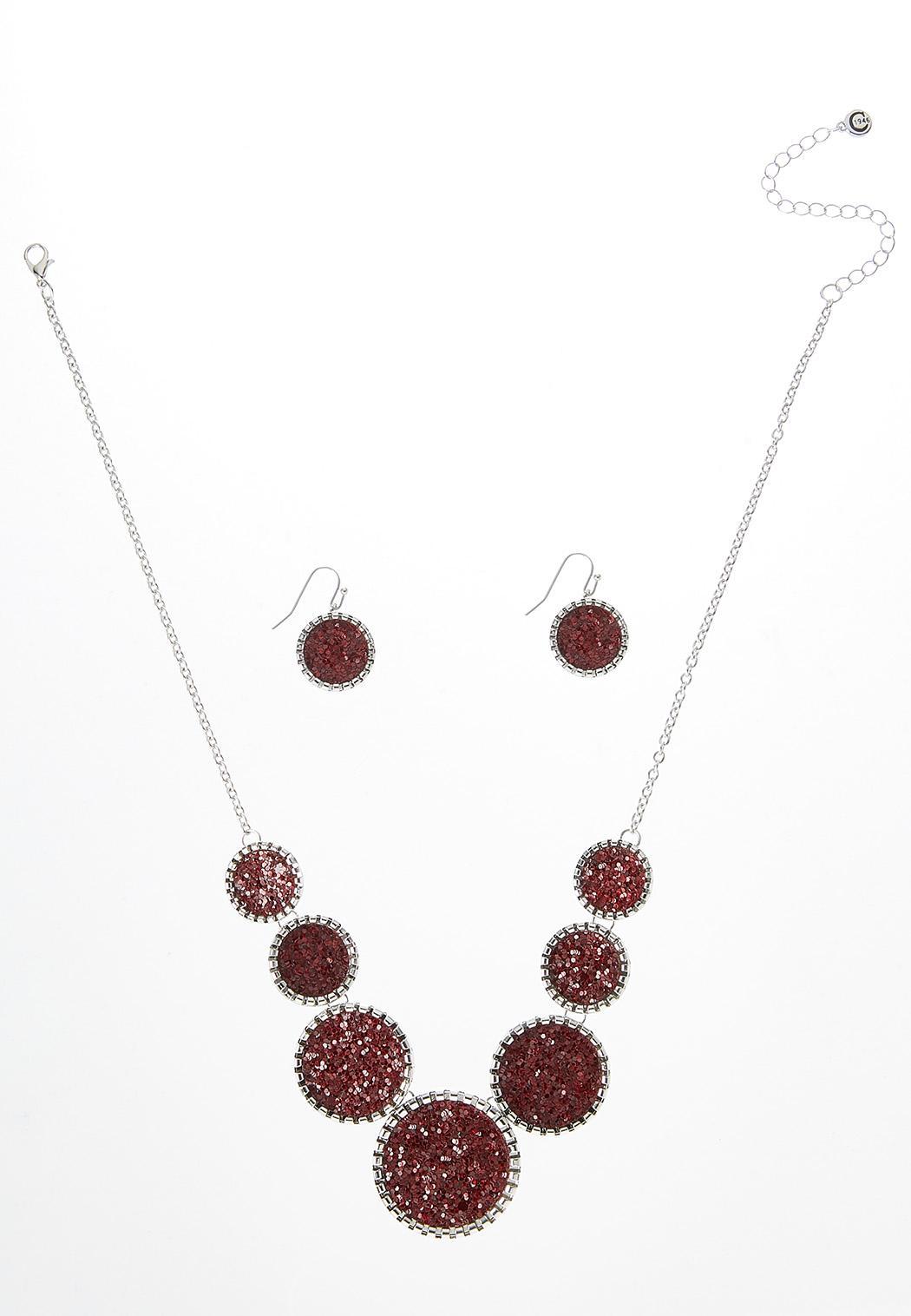 Glitter Necklace Earring Set