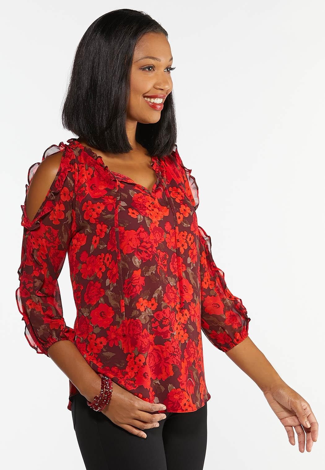Red Ruffled Cold Should Top