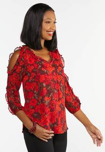 Plus Size Red Ruffled Cold Should Top
