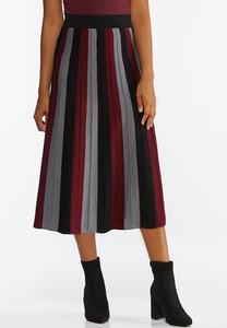 Plus Size Stripe Sweater Skirt