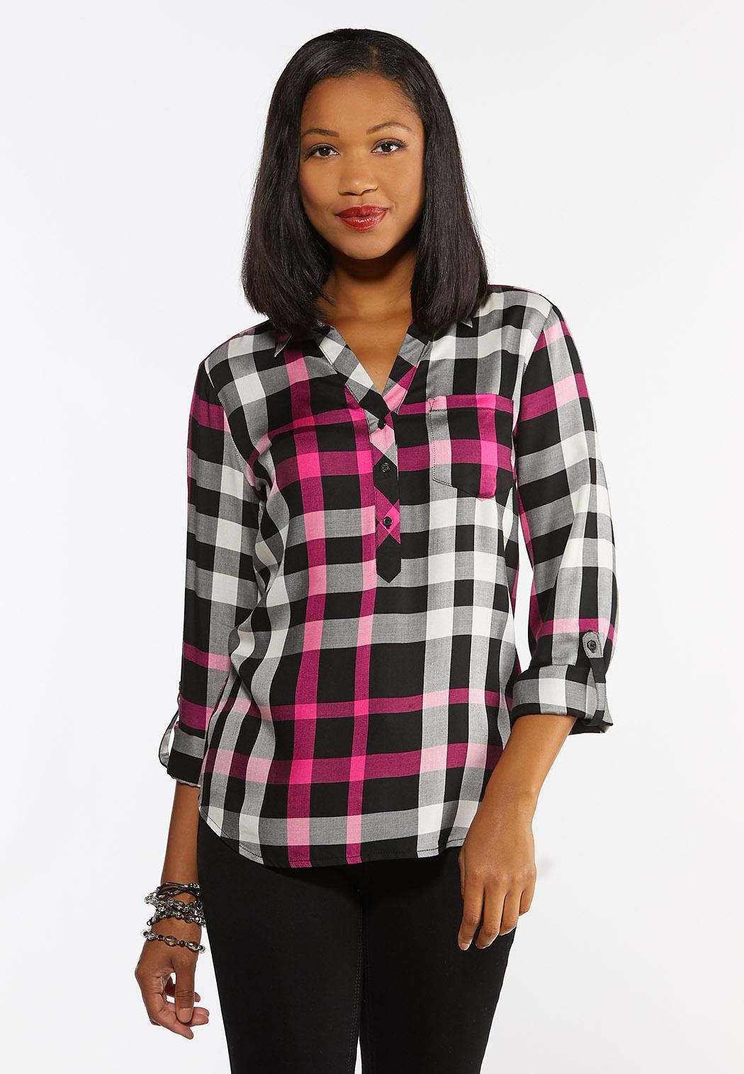 Plus Size Pink Checkered Shirt