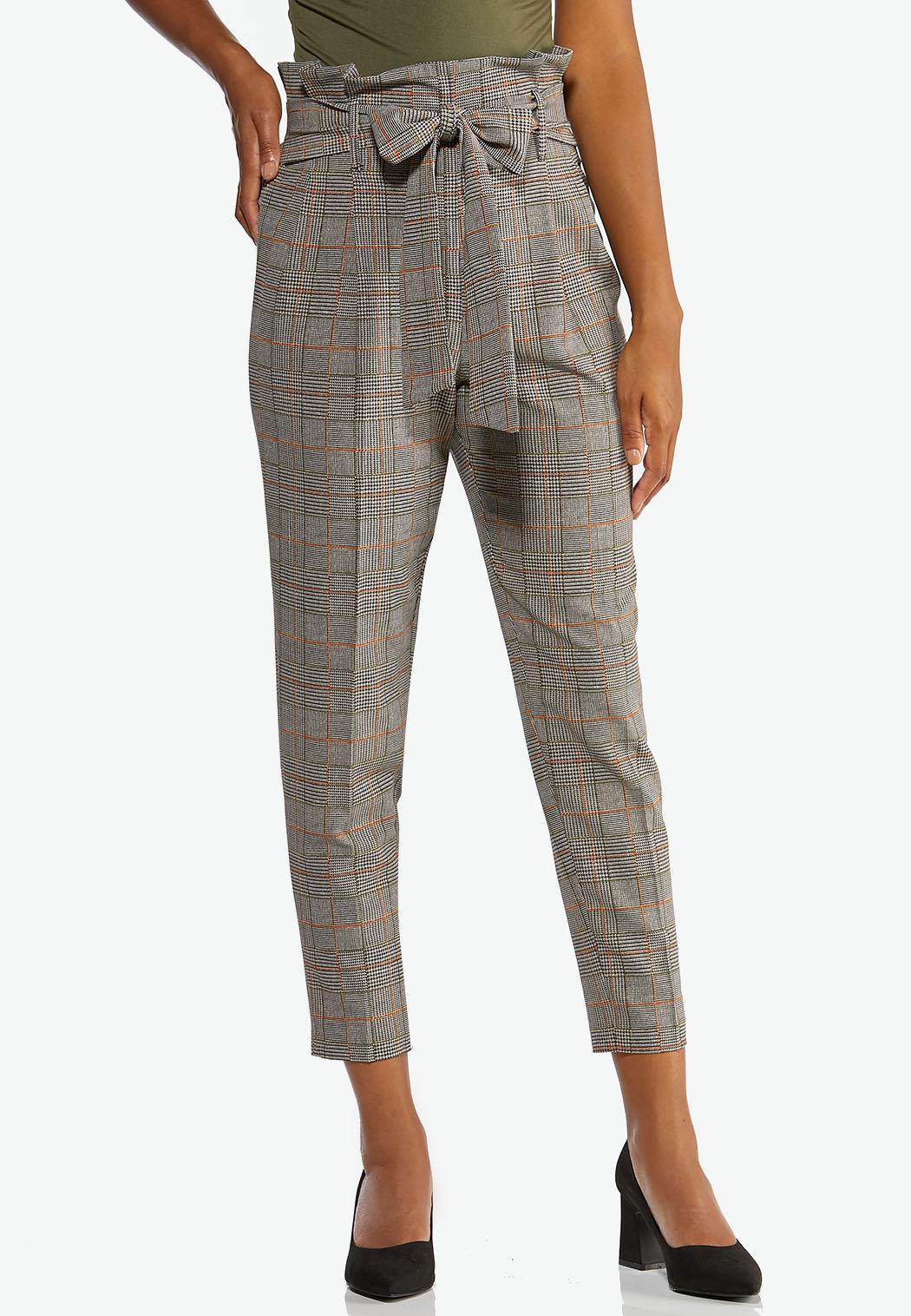 Plaid Paperbag Waist Ankle Pants