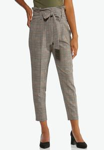 Plaid Paperbag Waist Ankle Pants