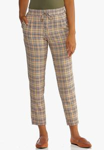 Plaid Tie Waist Ankle Pants
