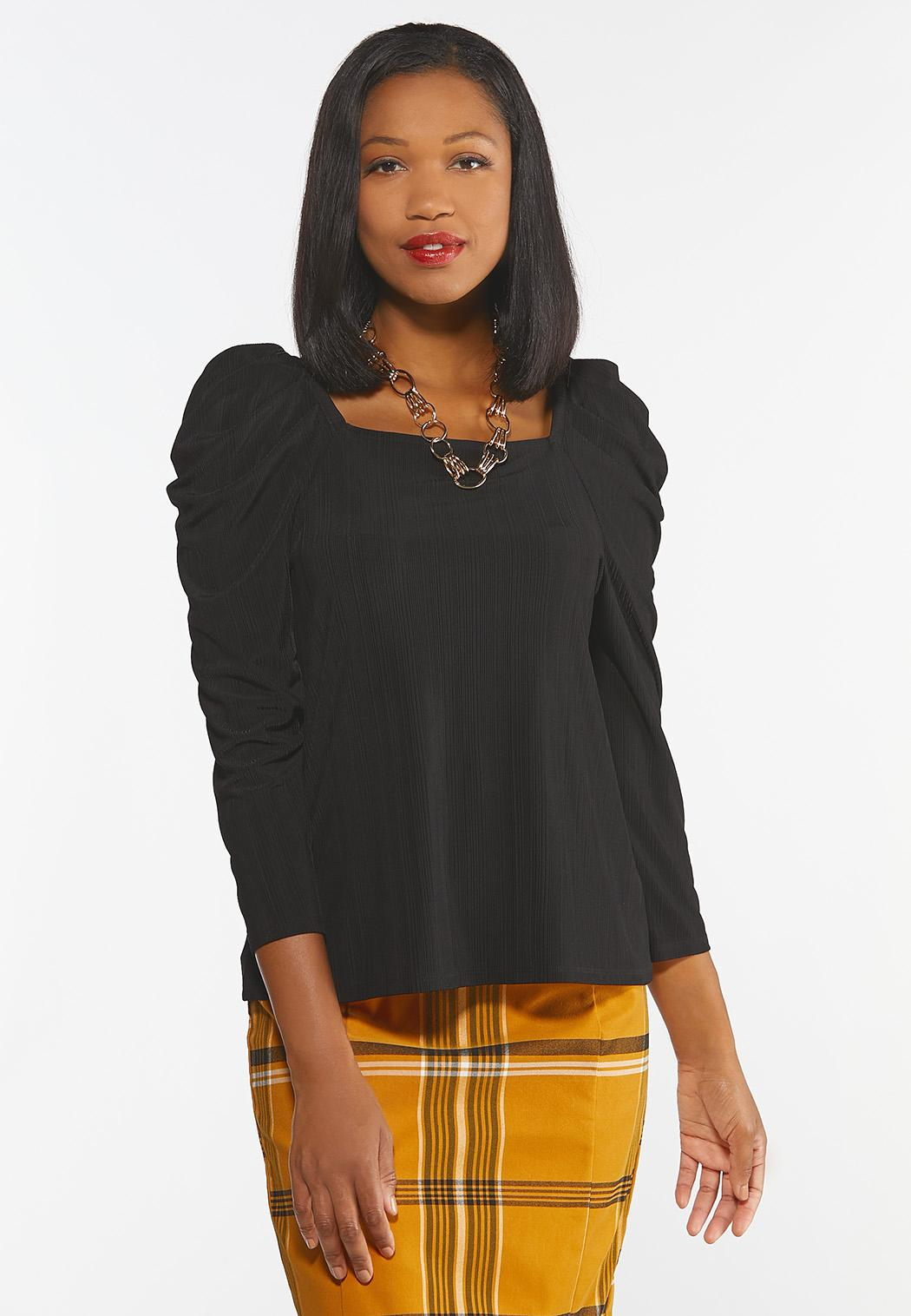 Plus Size Ribbed Puff Sleeve Top