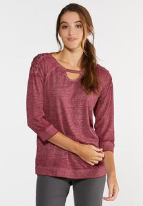 Lace Up Wine Athleisure Top