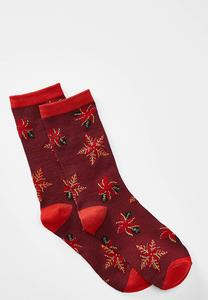 Poinsettia Print Socks