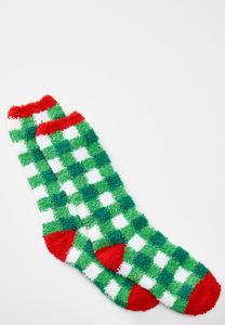 Cozy Green Plaid Socks