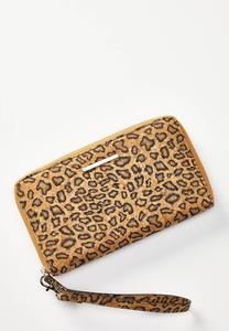 Leopard Cork Wristlet