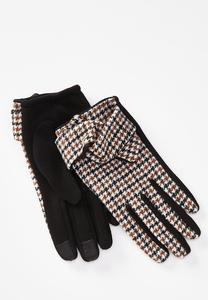 Brown Houndstooth Tech Touch Gloves