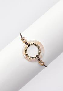 Inspirational Lucite Pull-String Bracelet