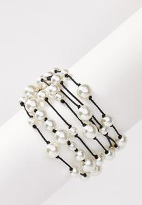 Layered Cord Pearl Bracelet