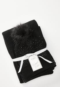 Embellished Scarf And Pom Beanie Set