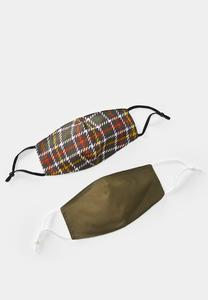Autumn Plaid Solid Face Mask Set