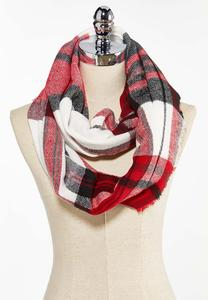 Brushed Plaid Infinity Scarf