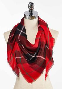Plaid Fringe Triangle Scarf