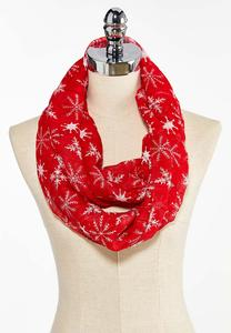 Red Snowflake Infinity Scarf