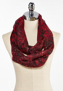 Red Paisley Infinity Scarf