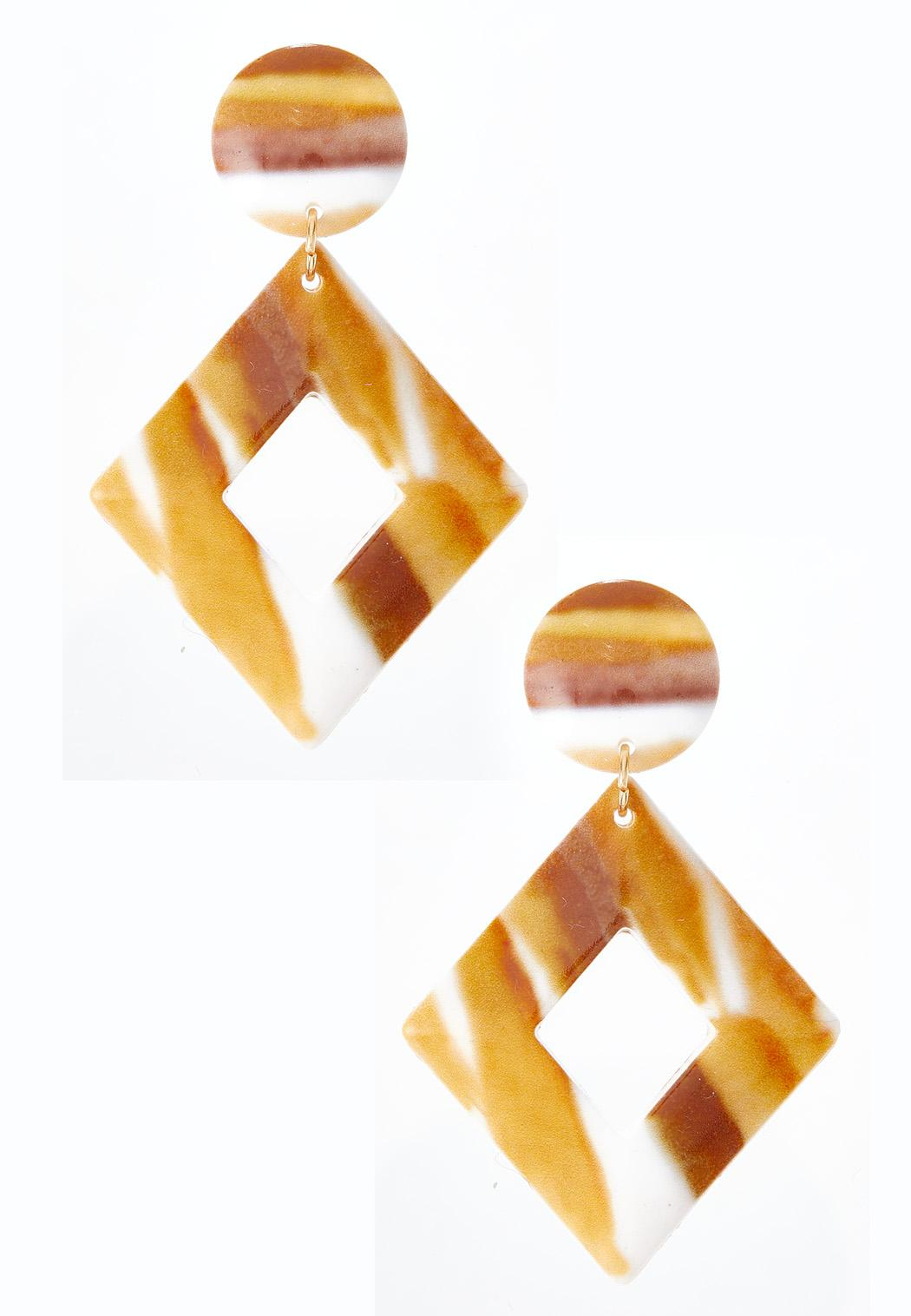 Caramel Cream Resin Earrings