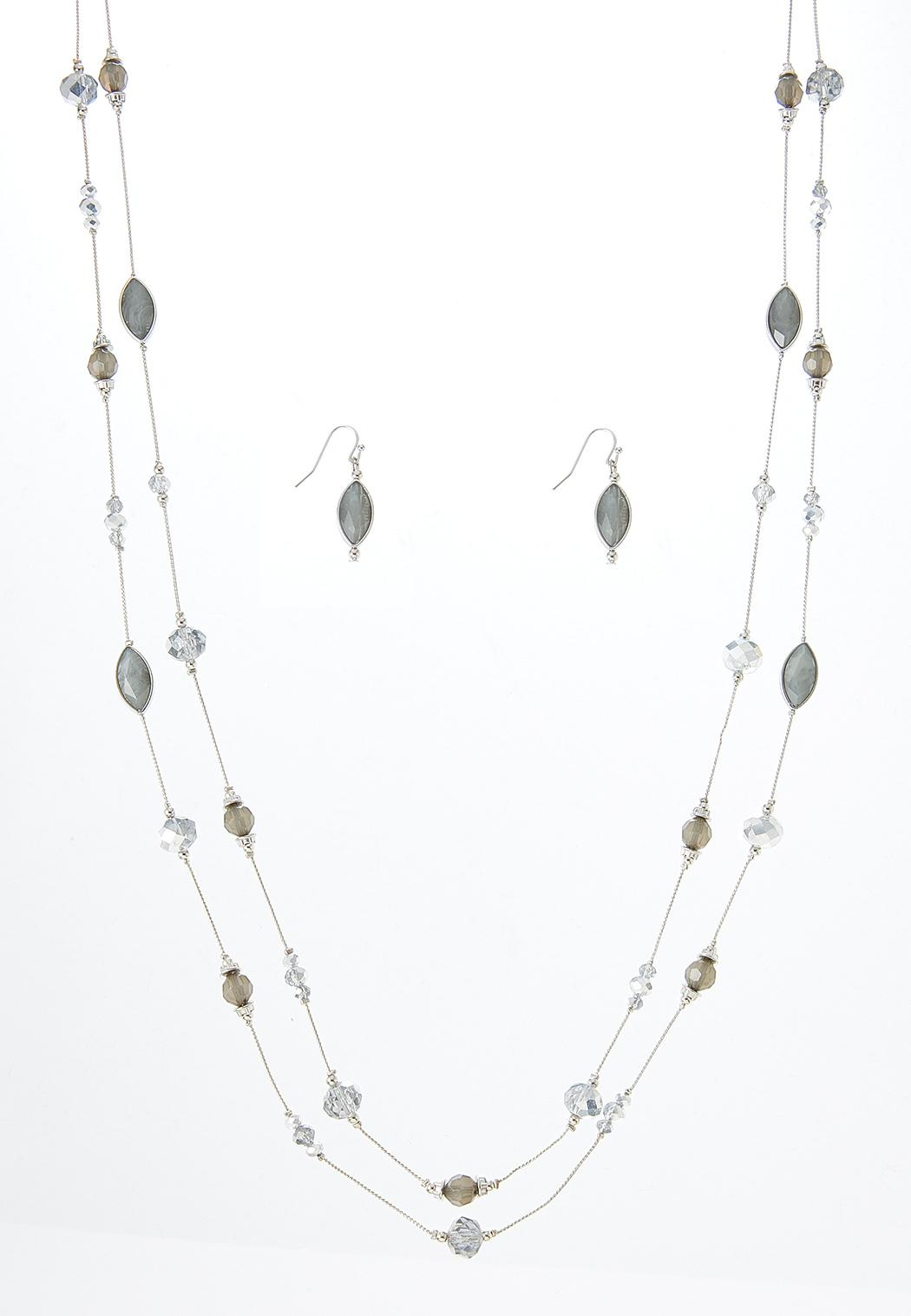Delicate Bead Necklace Earring Set