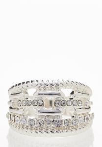 Silver Rhinestone Statement Ring