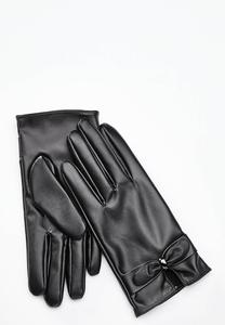 Tech Touch Leather Bow Gloves