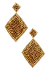 Diamond Vintage Gold Bead Earrings