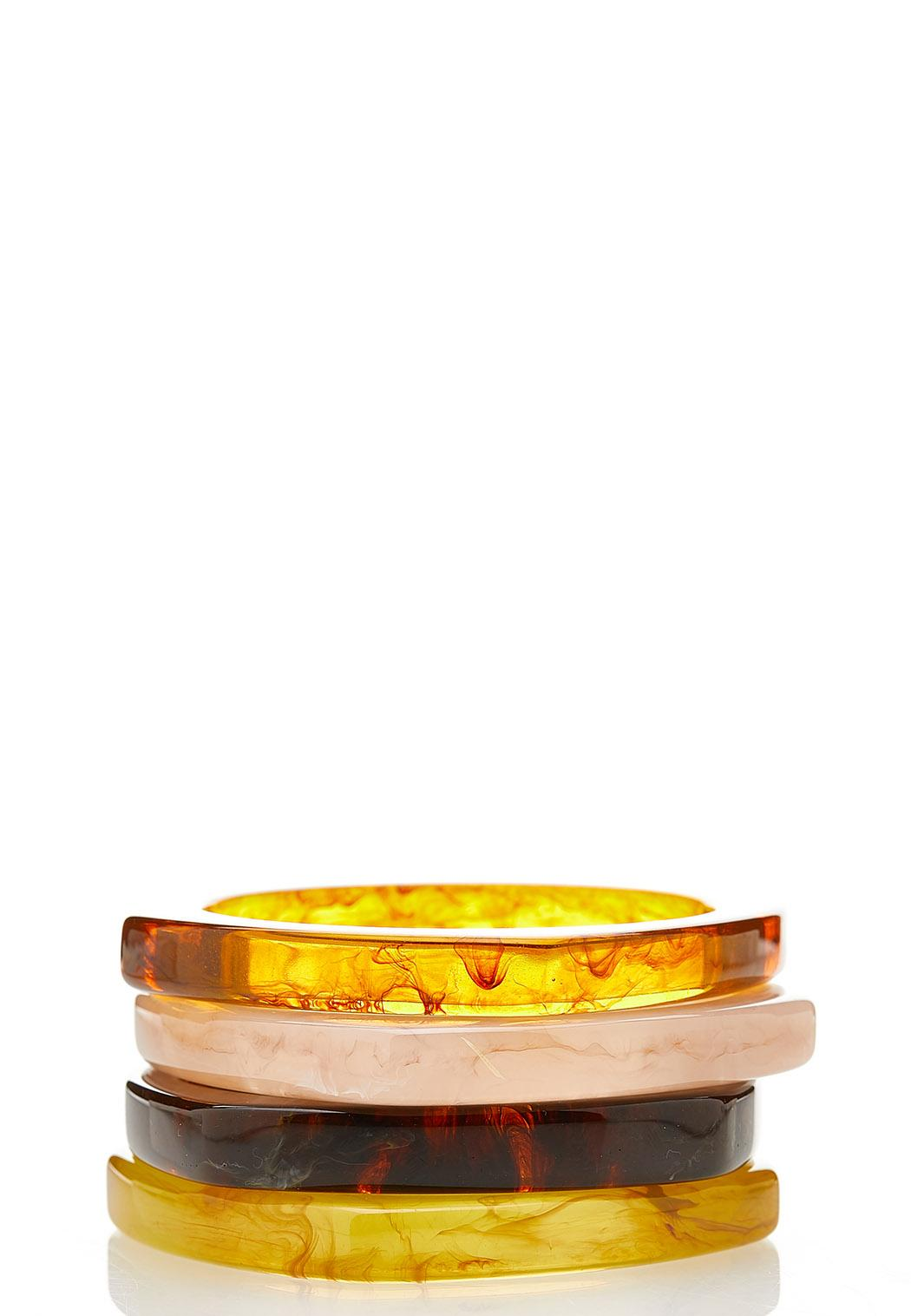 XL Earthy Resin Bangle Bracelet Set
