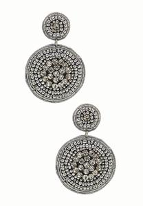 Silver Jeweled Circle Earrings