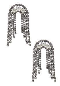 Rhinestone Pearl Waterfall Earrings