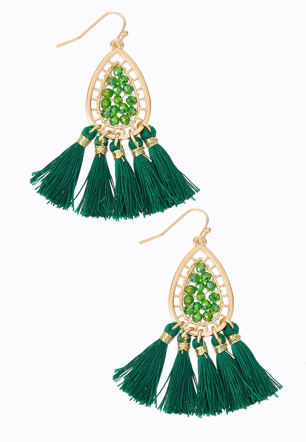 Beaded Wire Tassel Earrings
