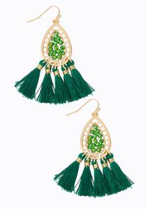 Beaded Wire Tassel Earrings