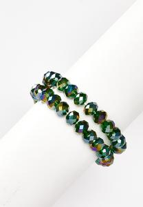 Green Crystal Stretch Bracelet Set