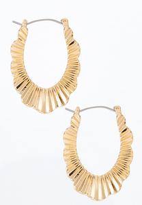 Crinkle Gold Hoop Earrings