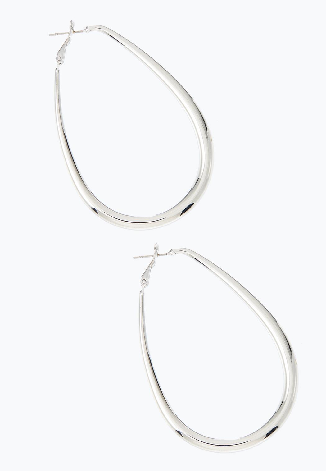 Tubular Oval Hoop Earrings