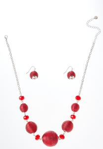 Thread Wrapped Necklace Earring Set