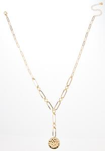 Hammered Metal Y-Necklace