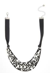 Pearl Fabric Bib Necklace