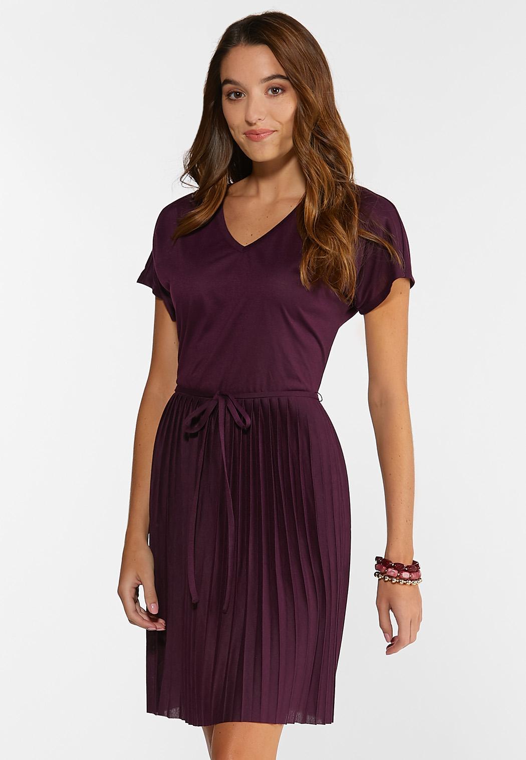 Pleated Plum Dress