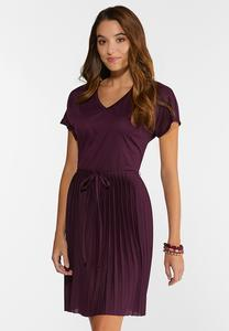 Pleated Plum Dress