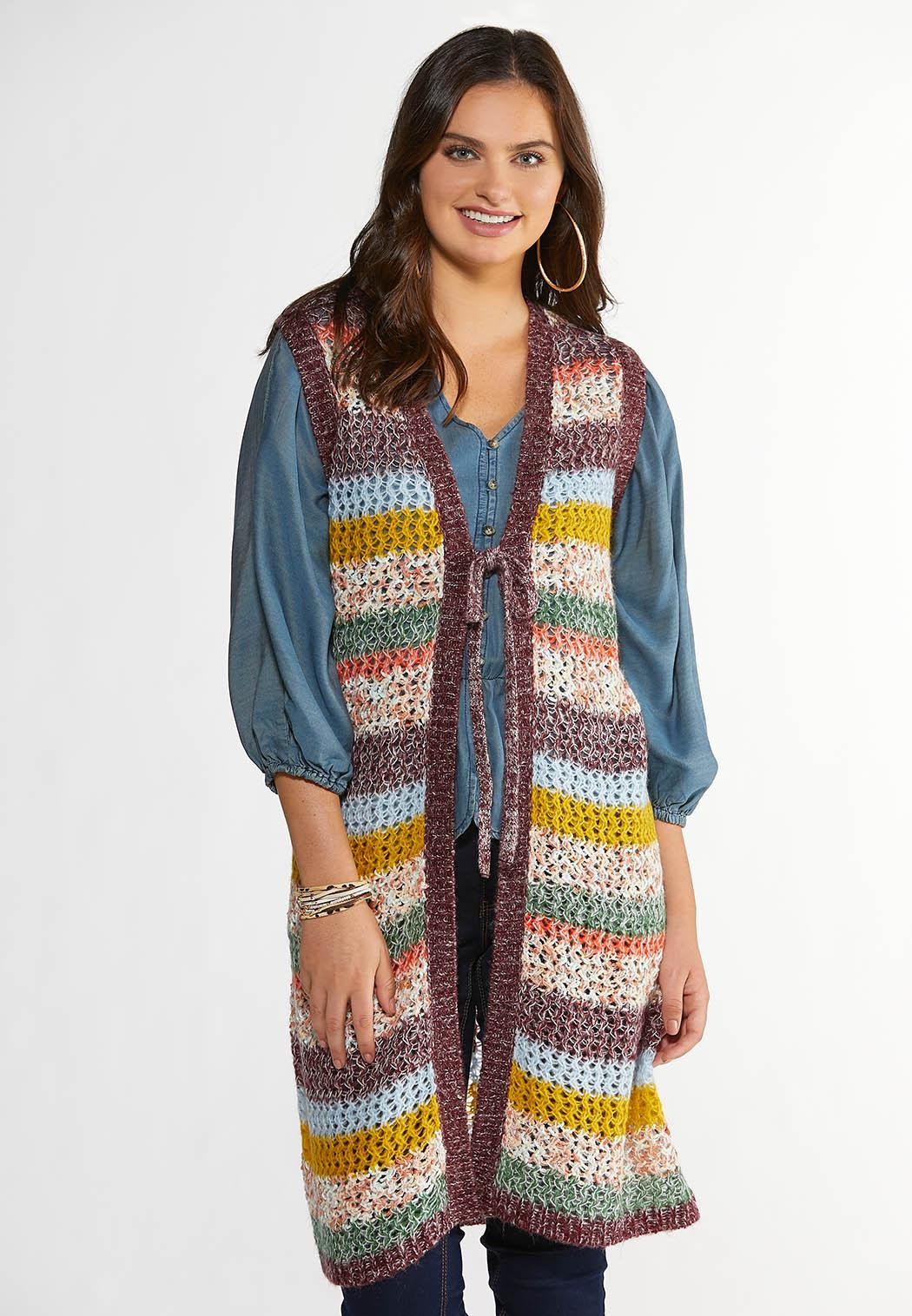 Plus Size Multicolor Open Stitch Sweater Vest