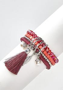 Charm Tassel Stretch Bracelet Set