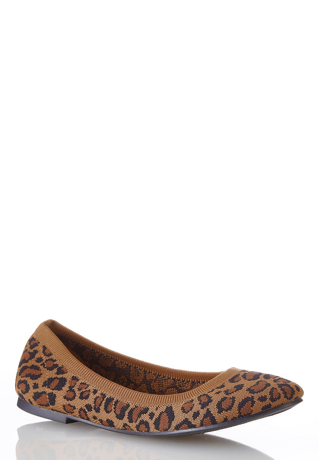 Wide Width Leopard Knit Flats