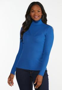 Solid Ribbed Turtleneck Top