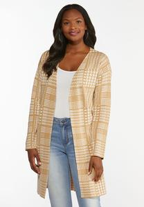 Plus Size Tan Houndstooth Cardigan Sweater